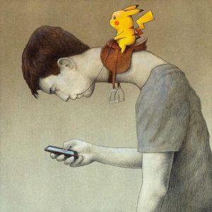PokemonGo player - text neck example