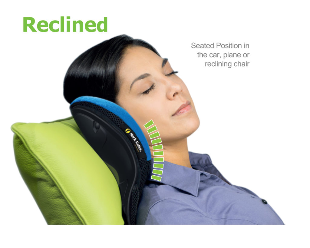 Cervipedic Neck-Relief M2 can be use upright on a recliner or chair